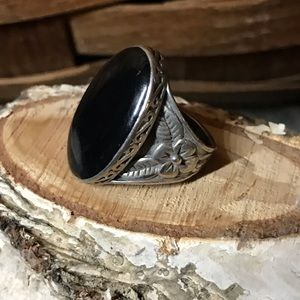 Jewelry - Vintage boho Ring Silver & Black Onyx